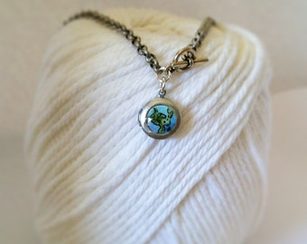 Small turtle watercolor locket necklace hand painted illustration