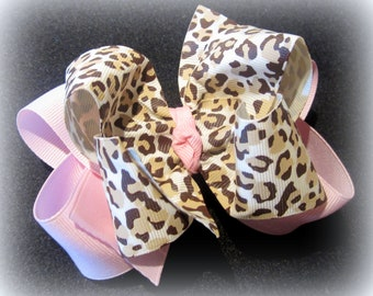 Baby Pink Leopard Fabulous Double Layered Boutique Lush Hair Bow Animal Print with Spikey Edges for Baby Toddler or Little Girl