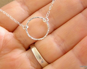 Silver Circle Necklace , Eternal Necklace , Sterling Silver Necklace , Modern Minimalist Jewelry