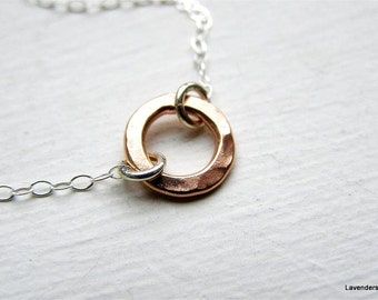 Rose Gold Circle  Necklace  on Sterling Silver Chain , Eternity Necklace , Mixed Metal Jewelry , rose gold jewelry