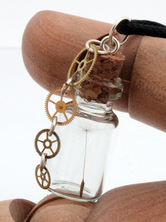 Steampunk dandelion wish seed glass vial necklace with watch cog charm- Great spring gift jewellery