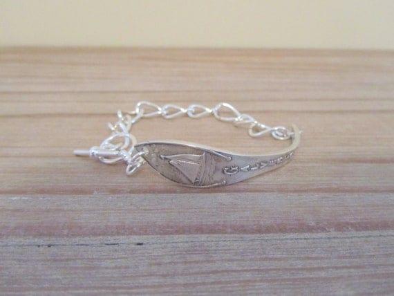 Galveston, Texas souvenir spoon Bracelet in Sterling Silver on chunky silver chain