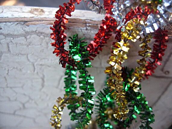 Vintage christmas garland tinsel pipe by littlebeachdesigns
