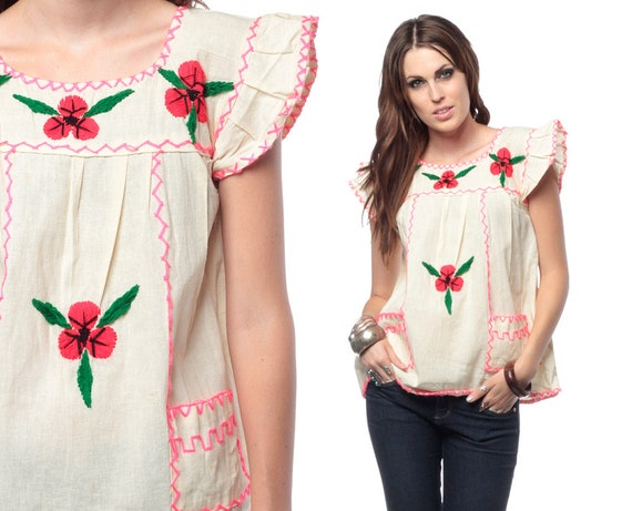 Embroidered Mexican Blouse 70s Hippie Flutter Sleeve Cotton Tunic Bohemian Festival Top 1970s Vintage Boho Ethnic Shirt Small Medium S M