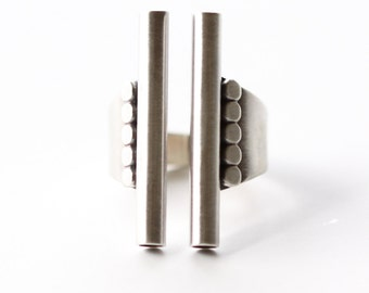 "Architectural inspired sterling silver design of a dramatic linear shape cocktail ring with a tapered silver band - ""Monoliths Ring"""