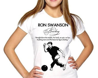 RON SWANSON Free Ship funny bowling figure skating Quote womens ladies t Tee Shirt parks mustache sign eggs bacon meat wood fan show art