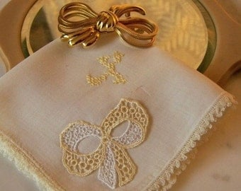 Vintage Pale Yellow Cotton with Three Dimensional Tatted Bow and Hand Embroidered X Monogram Handkerchief.