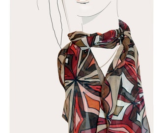 "Brown, and Red geometric, hand painted silk scarf, ""African Treasure"""