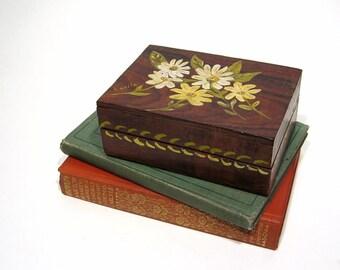 Vintage Wood Box Hand Painted Daisies Rustic Folk Art