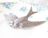 Silver Sparrow Hair Barrette - Silver Sparrow - Silver Swallow Barrette - Whimsy - Whimsical - Woodland - Bridal Hair Barrette