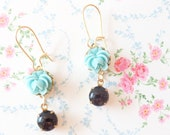 Emily - Vintage Jewel and Flower Earrings - Rose Earrings - Ruffled Rose - Something Blue