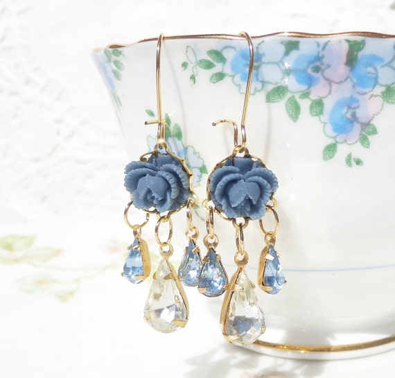 Vintage Chandelier Jewel and Flower Earrings - Whimsical - Bridal - Bridesmaid