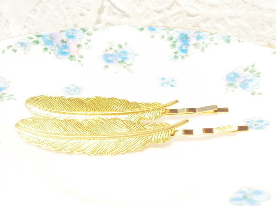 50% OFF - Gold Feather Hair Bobby Pins - Woodland Collection - Whimsy - Bridal