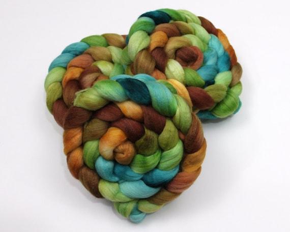 Polwarth/ Silk Roving - Hand painted Felting or Spinning Fiber