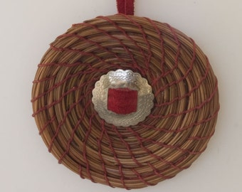 Pine Needle Ornament with Red Leather and Concho