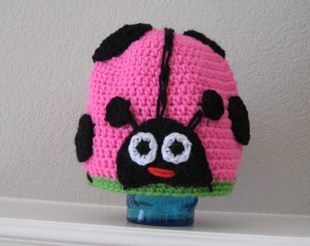 Hot Pink Ladybug Bug Animal Beanie Hat Baby Toddler Child Crochet Handmade Crocheted Made to Order