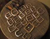 Used Belt Buckles - Silvertone - Lot of 20 with 10 leather loops