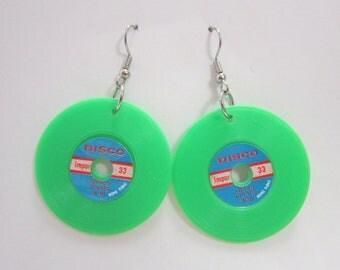 Vintage Plastic Record Charm Earrings