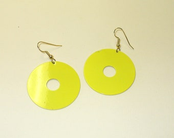 Vintage Bright Yellow Circle Earrings DEADSTOCK