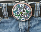 Handpainted Art Glass Belt Buckle, leather belt, Lavender Mist, purple blue green