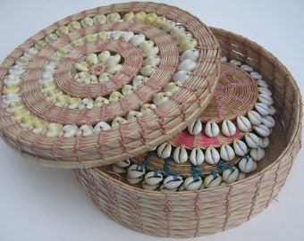 Vintage Basket Trivets African Tribal  Cowrie Shell and Straw