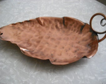 Vintage Copper Grape Leaf Serving Dish Minimalist