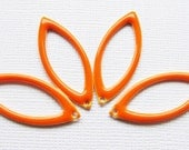 Metal & Epoxy Open Marquise Drops - Silver Plated with Orange (4 drops) - spa431