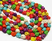 "15.5"" Gemstone STRAND - Howlite Beads - 9x9x7mm Carved Skulls - Multi-Colored (15.5"" strand - 42 beads) - str152"