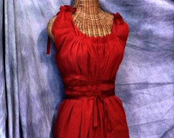 Little Red Dress Love Corset Ren Faire, Custom Renaissance Fashion Riding Hood Gauze