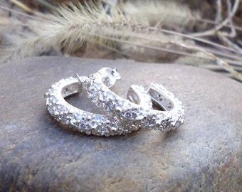 CZ/Crystal Hoop Earrings - 954