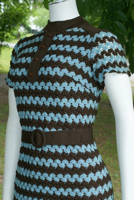 Blue and Brown Stripe Sweater Dress