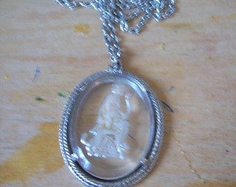 Vintage Avon Pendant Necklace.carving of Athena, hunting maiden with her dog