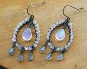 Rainbow Moonstone Luna Dance Chandelier Earrings - Labradorite Polished Briolettes, Oxidized Sterling Silver