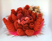 Hot Orange Recycled Sweaters and Fun Fur Urchin Sculpture