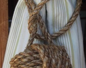 Rustic Tiebacks -  4 rope curtain tie backs (2 pairs)- drapery holder - Both Nautical Decor and Rustic Home Decor