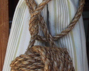Rustic Tiebacks -  4 Rope Curtain Tiebacks (2 pairs) - Both Nautical Decor and Rustic Home Decor