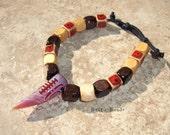 Tribal Bracelet Agate Talon and Wood Beaded Vegan Adjustable Cord