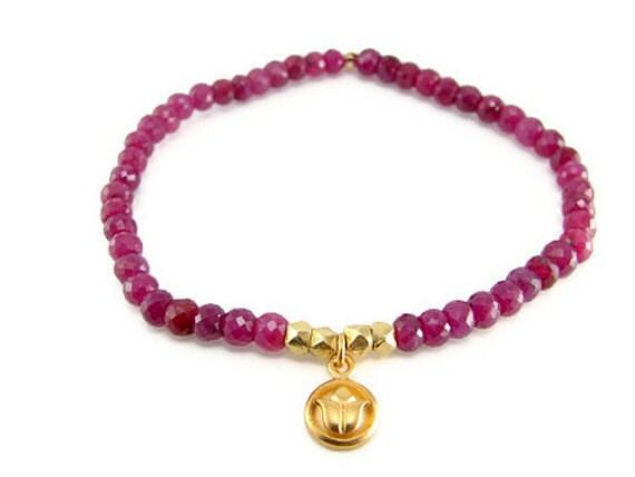 Ruby Lotus Gold Gemstone Bracelet- 24 k Gold Vermeil Lotus -Passion ,Love new beginnings- July Birhstone - Yoga Inspired Jewelry