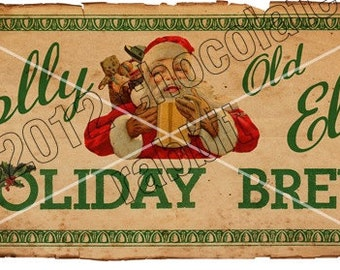 Vintage Christmas Tag Label Printable Holiday Brew Aged Instant Digital Download Collage Sheet Graphics Homemade Cards Scrapbook