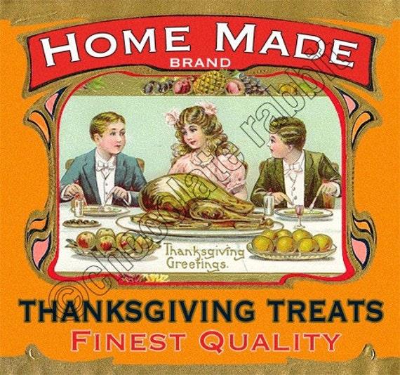 Vintage Thanksgiving Tag Label Printable Digital Download Collage Sheet Graphics Homemade Cards Scrapbook