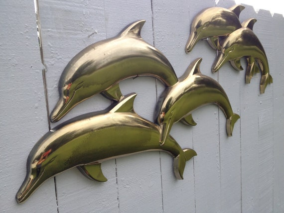 Vintage Syroco Dolphin Wall Hanging Two Parts Large Fun and Florida