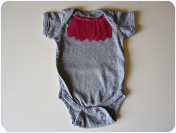 Baby Girl Bodysuit, Plum Pink Fringe, 6 Months, Sale