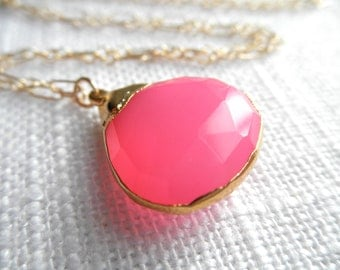 Bright Pink Chalcedony necklace - gold necklace - pink and gold - pink necklace - A M E L I A 166