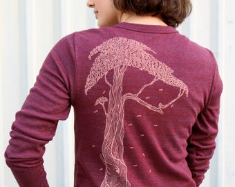 Tree Cardigan - Cranberry or Coffee colored sweater