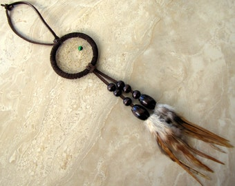 Dream Catcher - Car Dream Catcher, Dark Brown, Feathered Dreamcatcher - Dream Song