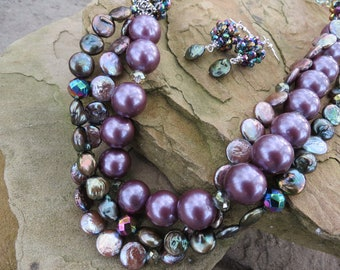 Long Purple and Green Pearl and Crystal Necklace with Earrings