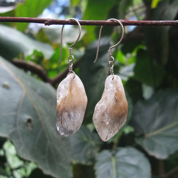 Crystal earrings - Rutilated Quartz jewelry - naturally sourced stones from Australia