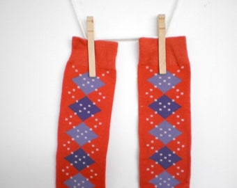 Red and Blue Argyle Leg Warmers- Crawlers for Babies
