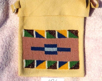 Beaded leather shoulder pouch
