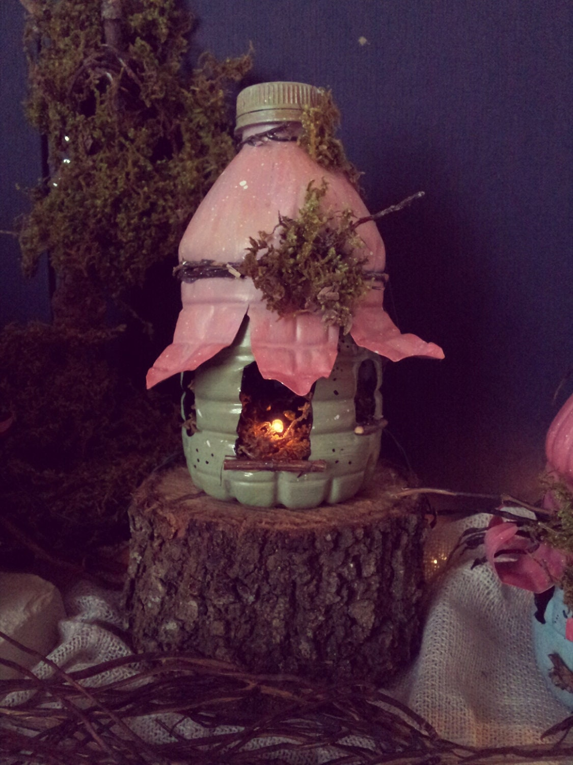 Woodland fairy house recycled bottles by thepaintedporchco for Casitas de jardin